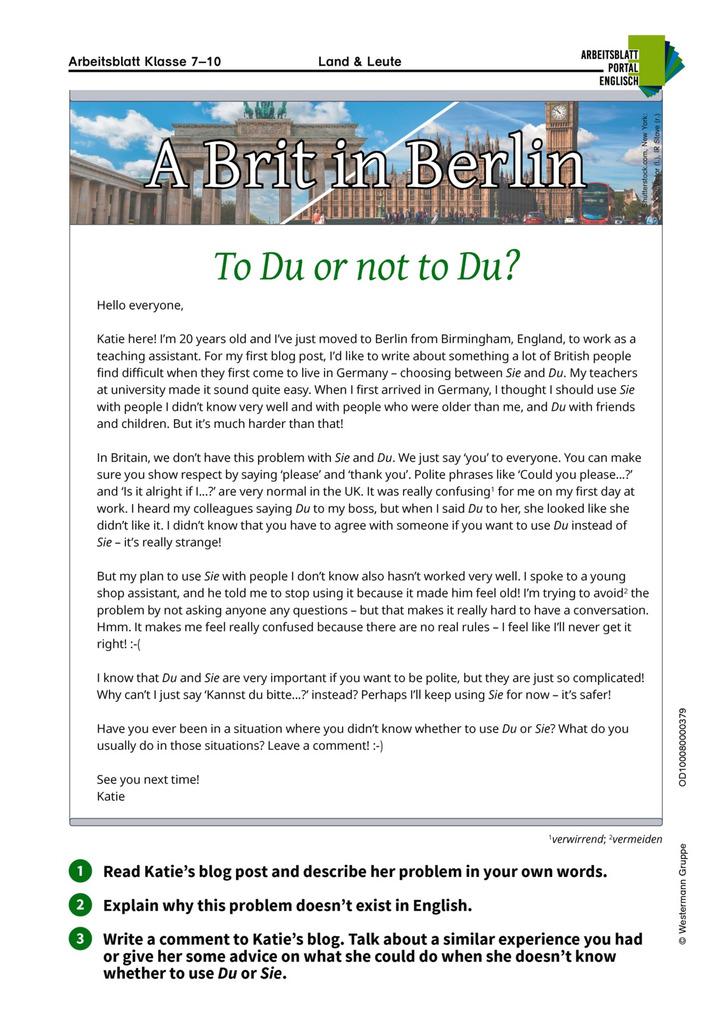 To Du or not to Du? - Englisch-Arbeitsblatt über das Duzen und ...