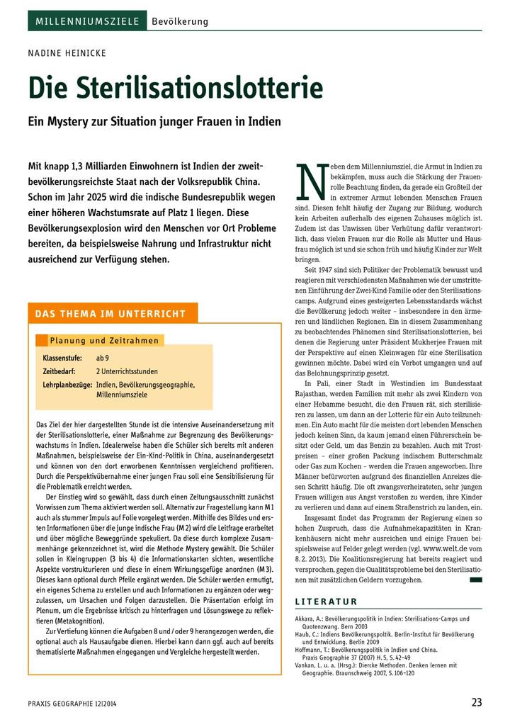 Die Sterilisationslotterie - Ein Mystery zur Situation junger Frauen ...