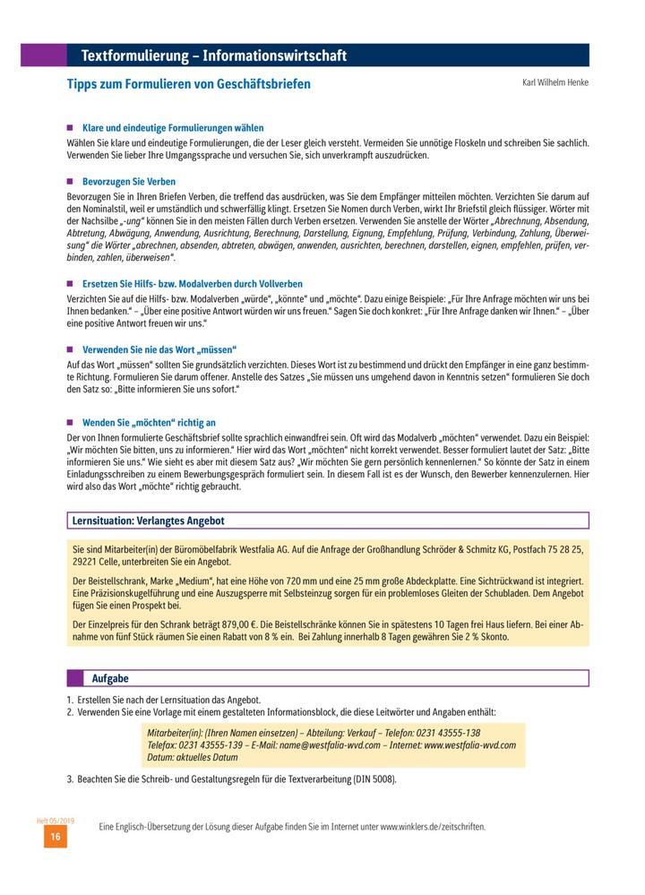 Tipps Zum Formulieren Von Geschäftsbriefen Ausgabe 052019