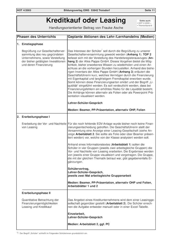 Kreditkauf oder Leasing - handlungsorientierter Beitrag: Verlage der ...