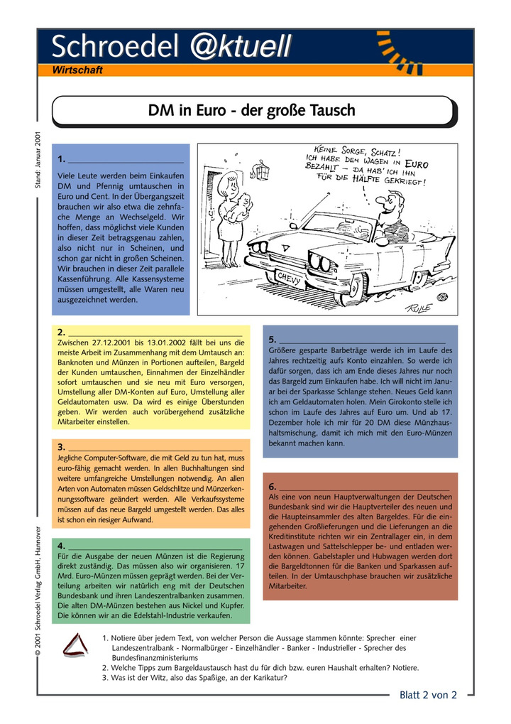 DM in Euro - der große Tausch (2) - - Arbeitsblätter zum größten ...