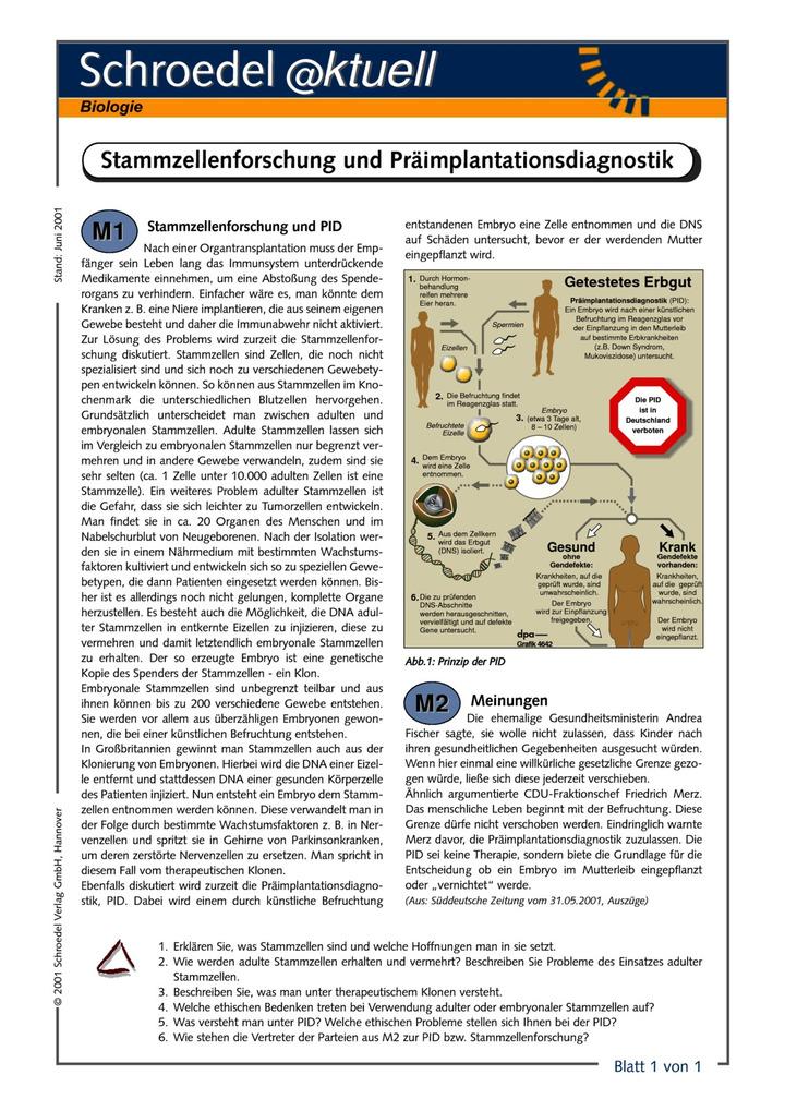 Stammzellenforschung und Präimplantationsdiagnostik (PID) - - ein ...