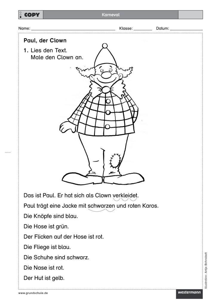 Downloadpaket Karneval - Mit vier Arbeitsblättern zur jecken ...