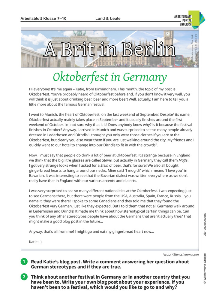 Oktoberfest - Englisch-Arbeitsblatt: Lernando - Schulbücher online ...