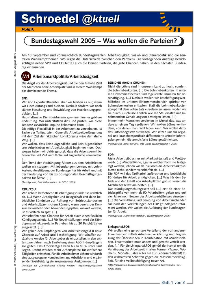 Bundestagswahlen 2005 – Was wollen die Parteien? - - drei ...