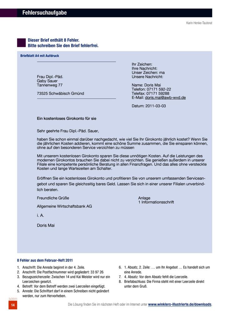 Geschäftsbrief Fehlersuchaufgaben Winklers Verlag