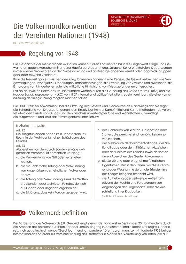 """UN-Völkermordkonvention - Teil 1: """"Darstellung der Konvention und ..."""