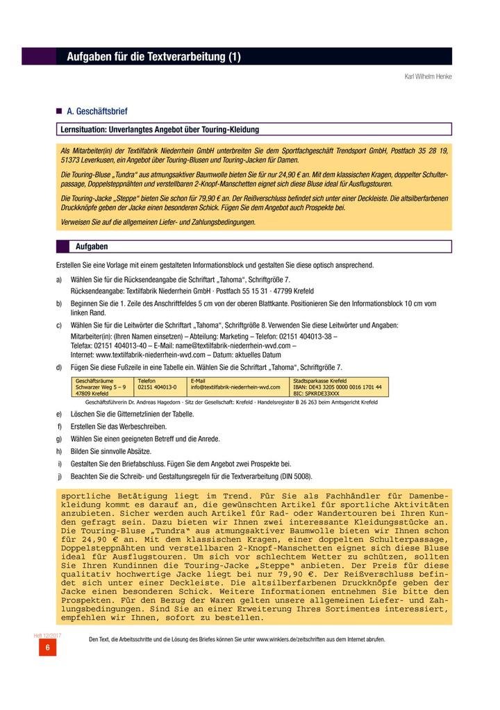Aufgaben Für Die Textverarbeitung Aufgabenblatt Winklers Verlag