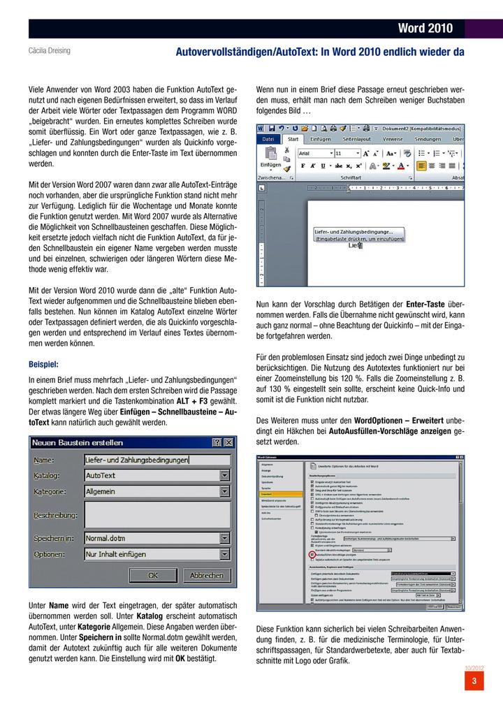Word 2010 Autovervollständigenautotext In Word 2010 Endlich