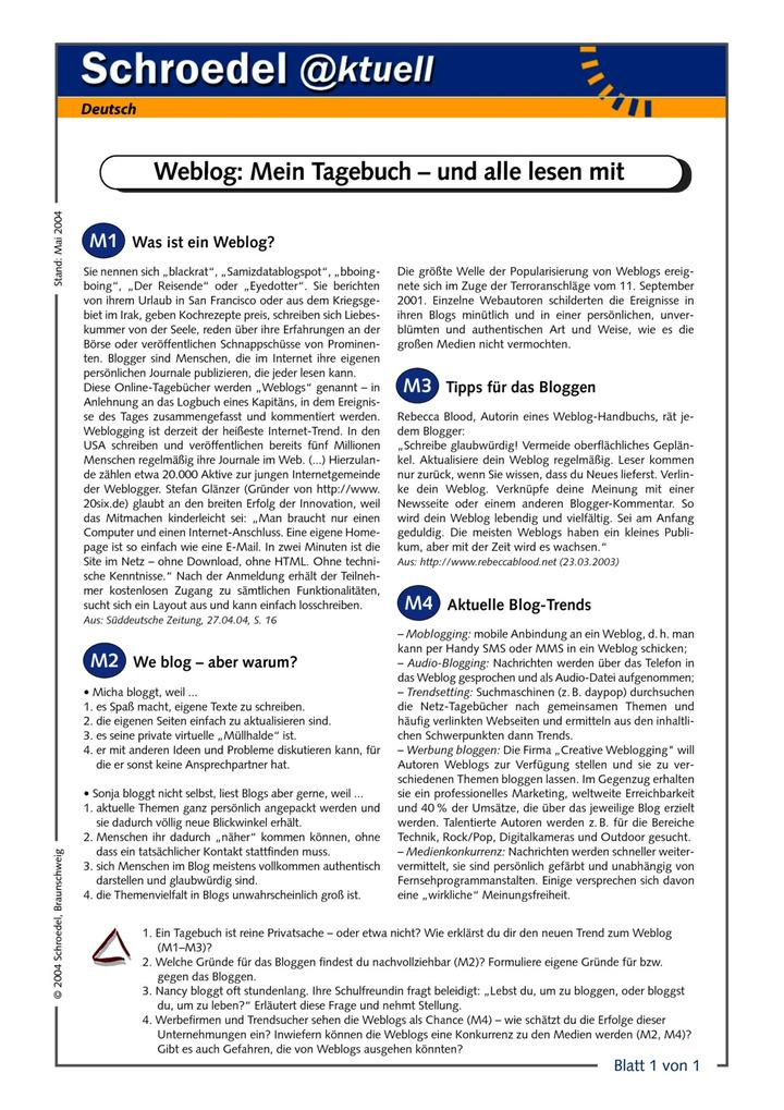 Weblog: Mein Tagebuch – und alle lesen mit - - ein Arbeitsblatt zum ...