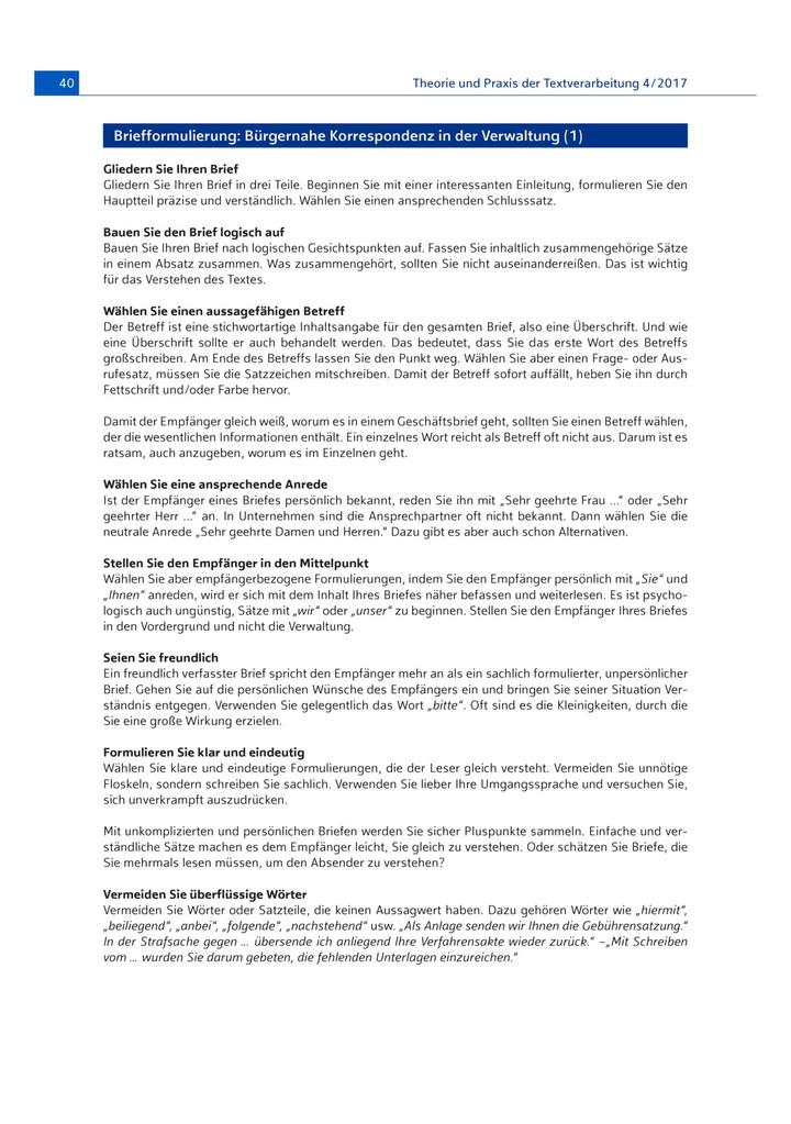 Bürgernahe Korrespondenz In Der Verwaltung Bildungsverlag Eins