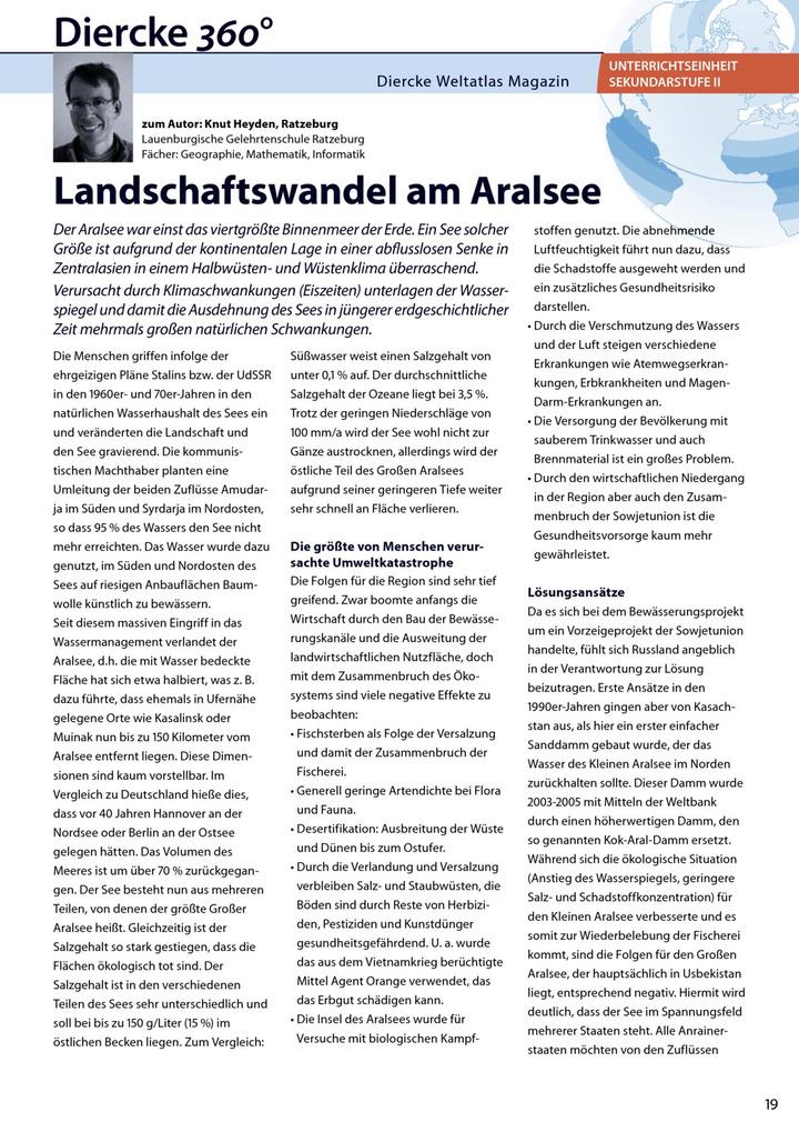Arbeitsblatt Sek II: Landschaftswandel am Aralsee - inkl. Lösungen ...