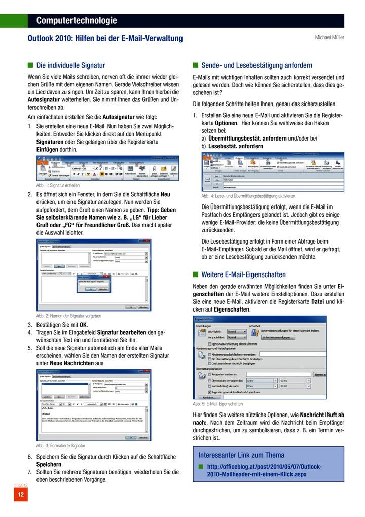 Computertechnologie - Outlook 2010: Hilfen bei der E-Mail-Verwaltung ...