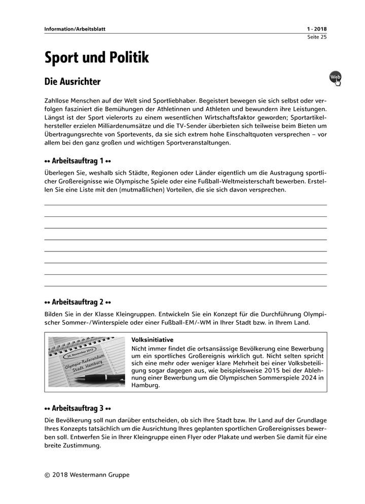 Sport und Politik - Die Ausrichter - Die olympische Idee ...