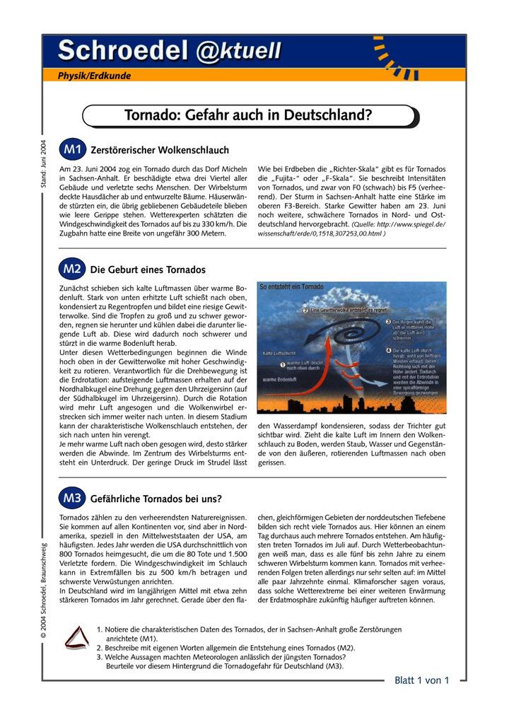 Tornado: Gefahr auch in Deutschland? - - ein Arbeitsblatt zu einem ...