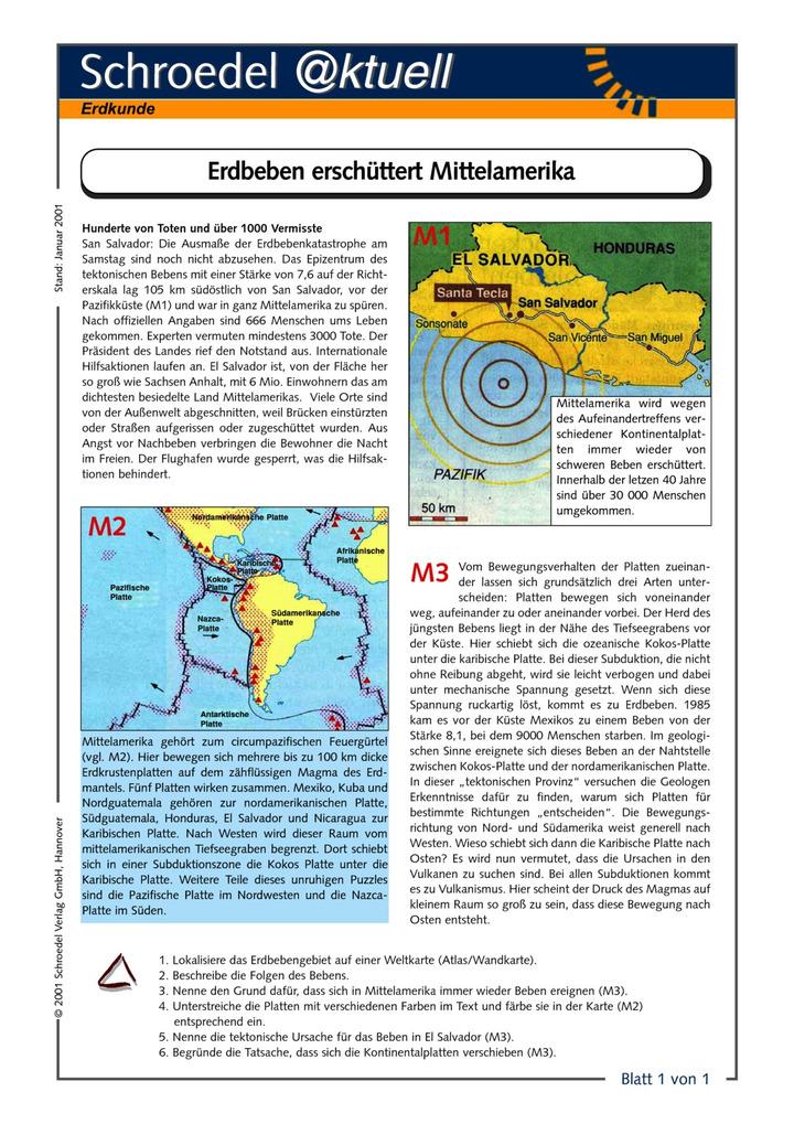 Erdbeben erschüttert Mittelamerika - - ein Arbeitsblatt zu den ...