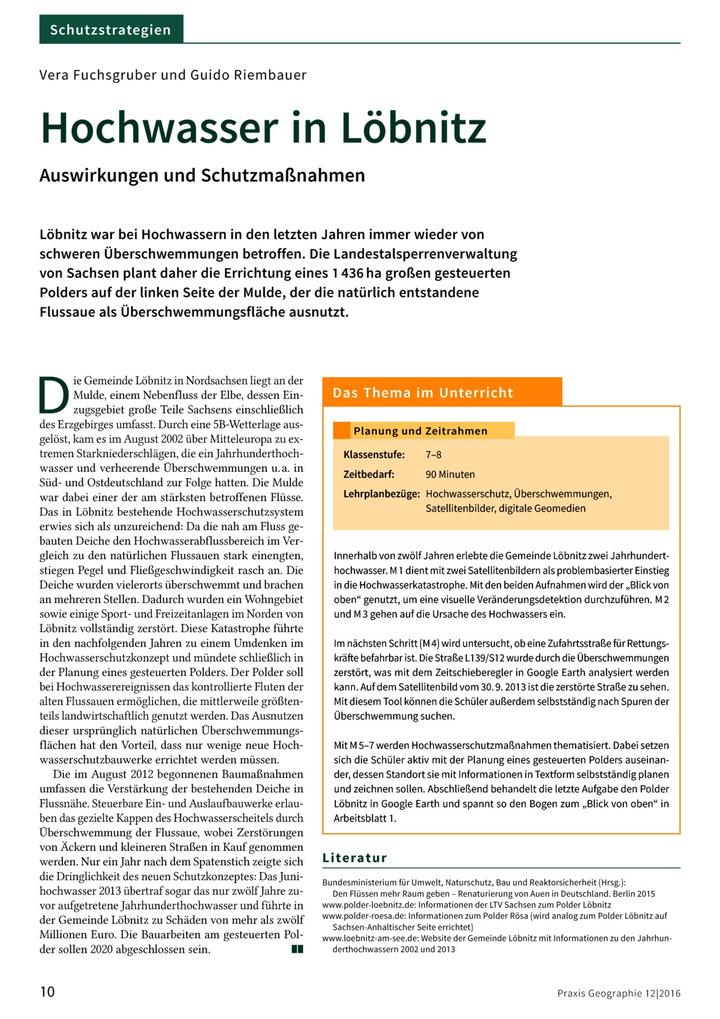 Hochwasser in Löbnitz - Auswirkungen und Schutzmaßnahmen: Verlage ...