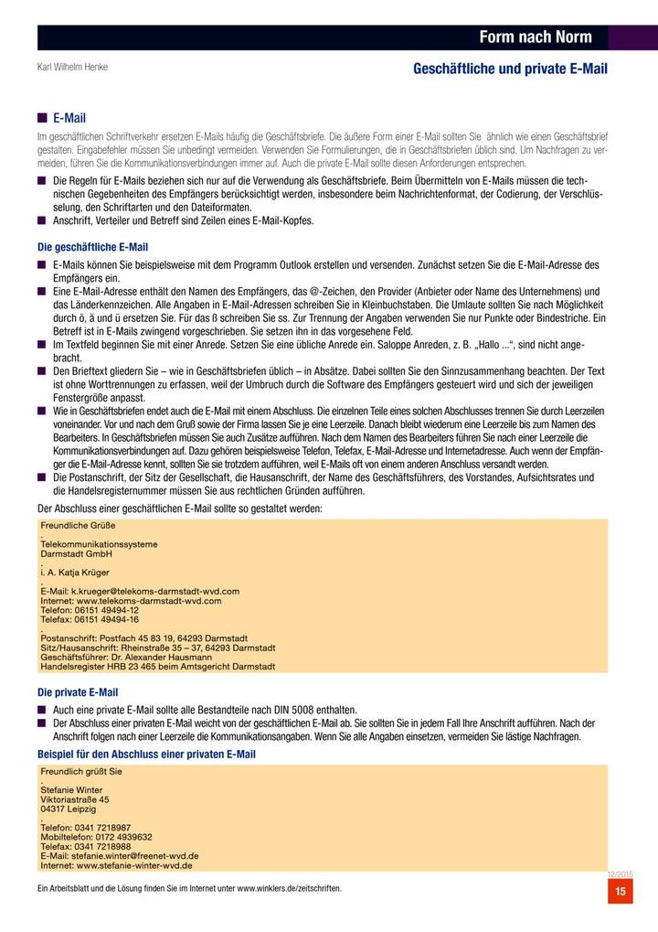 Form nach Norm - Geschäftliche und private E-Mail: Verlage der ...