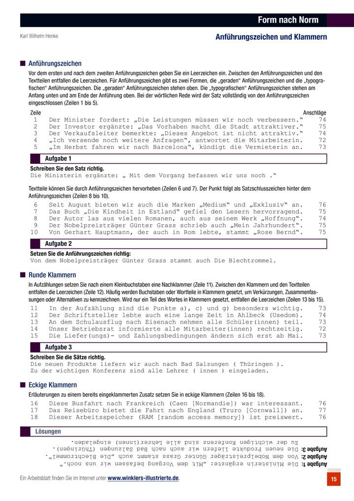 Form nach Norm: Anführungszeichen und Klammern: Bildungsverlag EINS