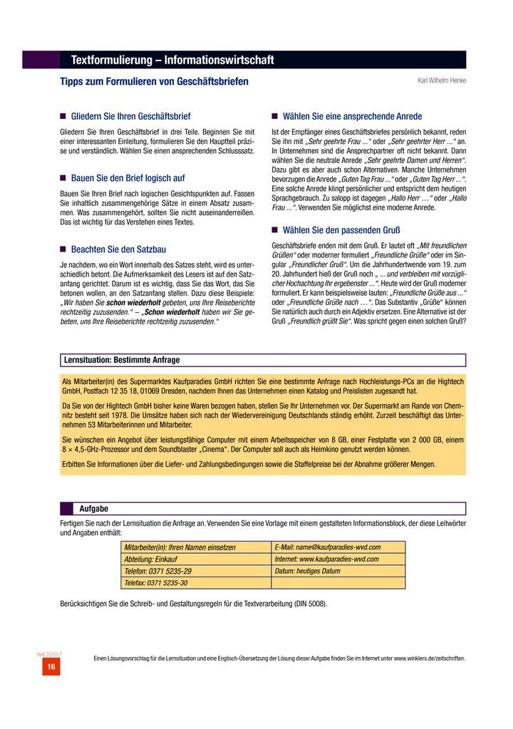 Tipps Zum Formulieren Von Geschäftsbriefen Aufgabenblatt Verlage