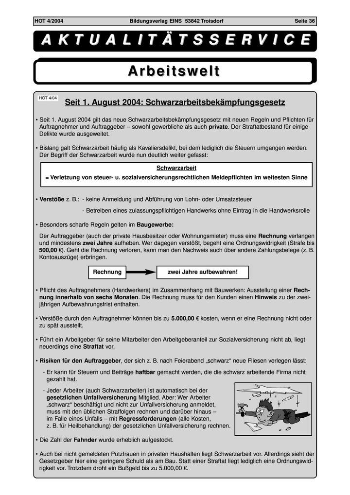 Aktualitätsservice Arbeitswelt: Schwarzarbeitsbekämpfungsgesetz ...