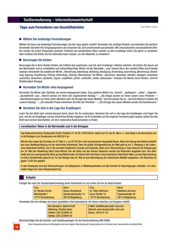 Tipps Zum Formulieren Von Geschäftsbriefen Aufgabenblatt