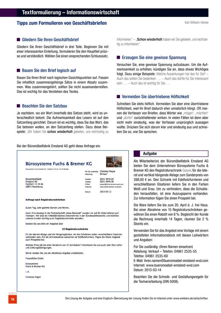 Textformulierung - Tipps zum Formulieren von Geschäftsbriefen ...
