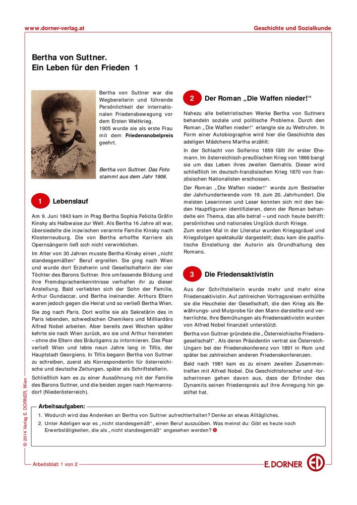 Bertha von Suttner: Westermann Gruppe in Österreich