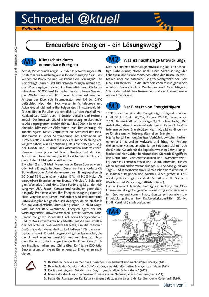 Erneuerbare Energien - ein Lösungsweg? - - ein Arbeitsblatt über den ...