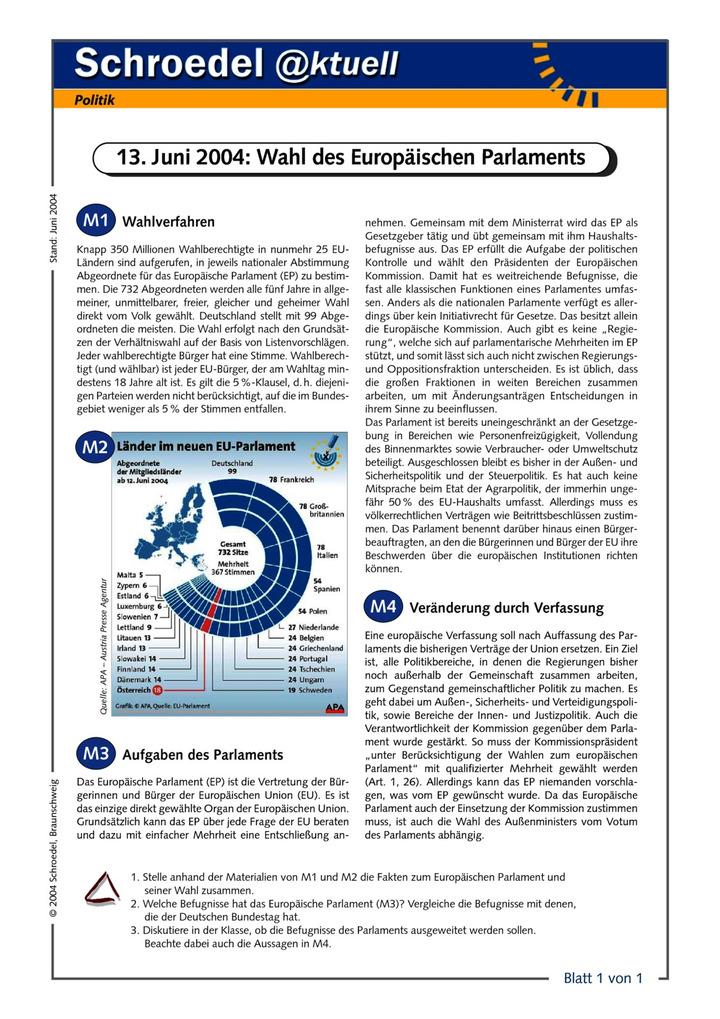 13. Juni 2004: Wahl des Europäischen Parlaments - - ein Arbeitsblatt ...