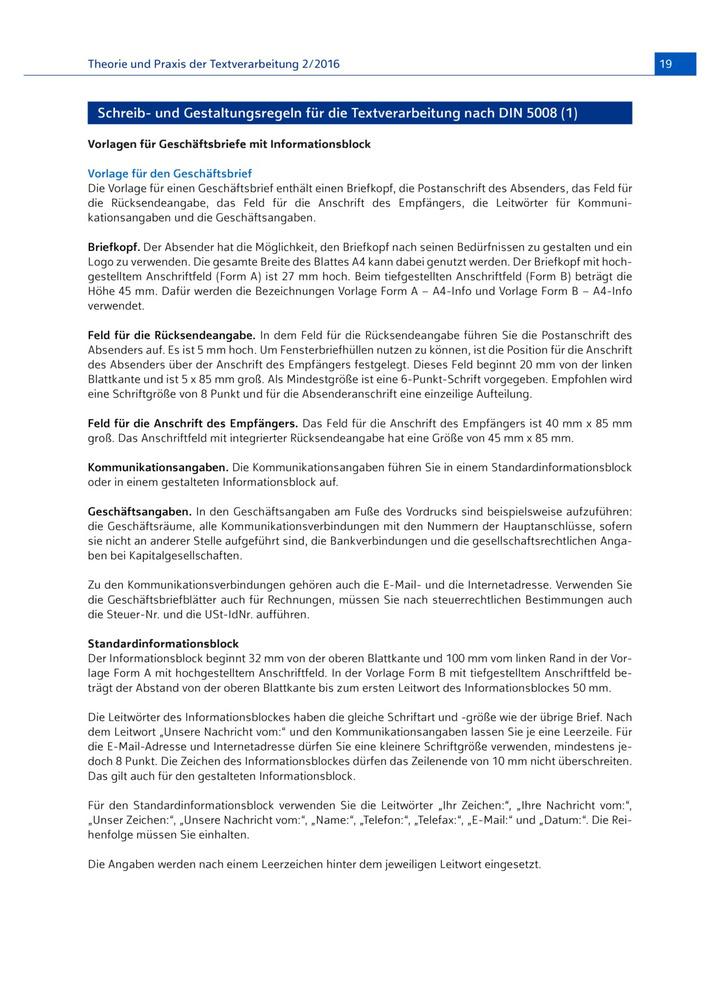Vorlagen Für Geschäftsbriefe Mit Informationsblock Verlage Der