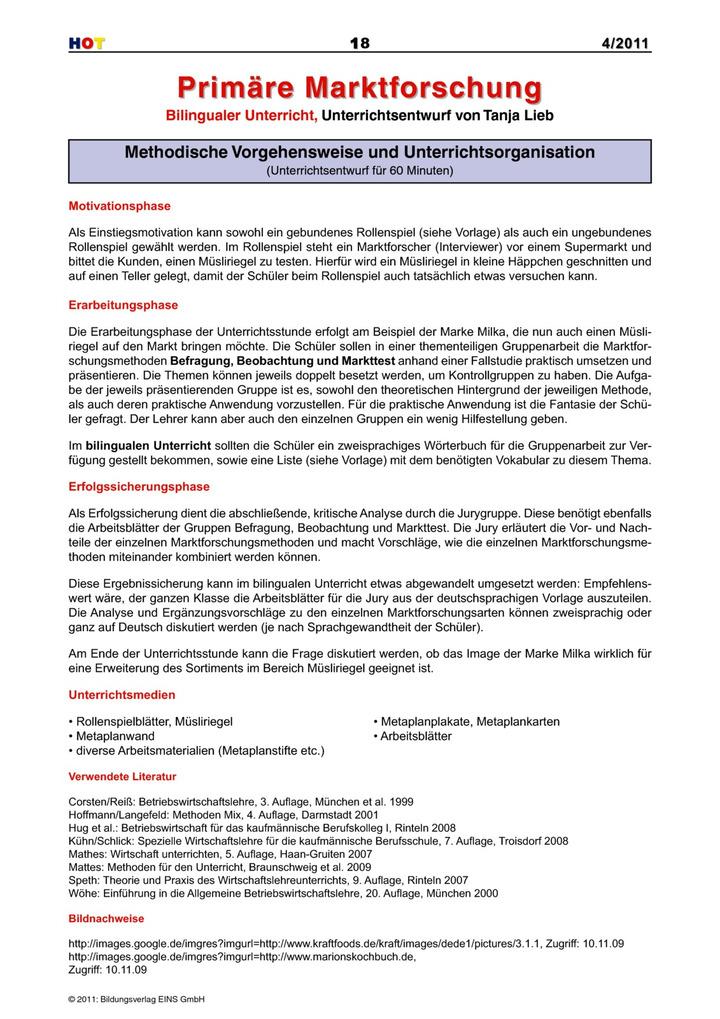 Primäre Marktforschung - Bilingualer Unterricht, Unterrichtsentwurf ...