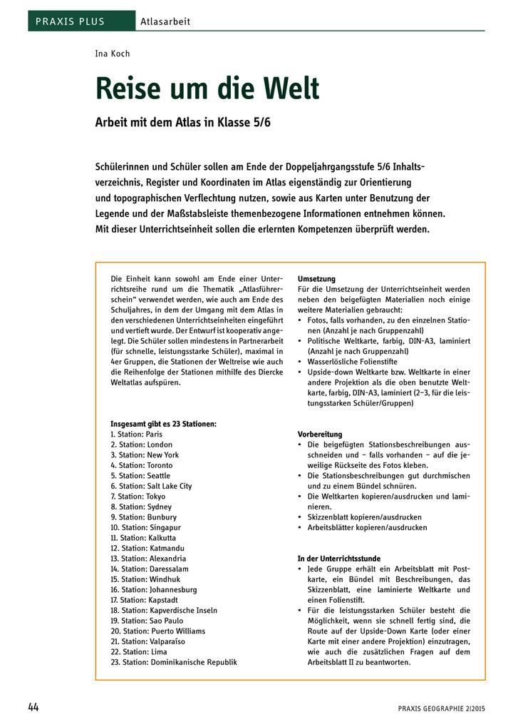 Praxis Plus - Reise um die Welt - Arbeit mit dem Atlas in Klasse 5/6 ...