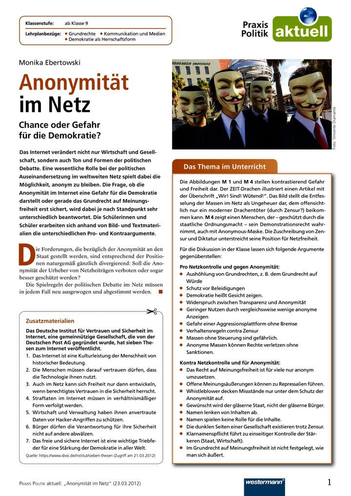 Anonymität im Netz - Chance oder Gefahr für die Demokratie?: Diercke ...