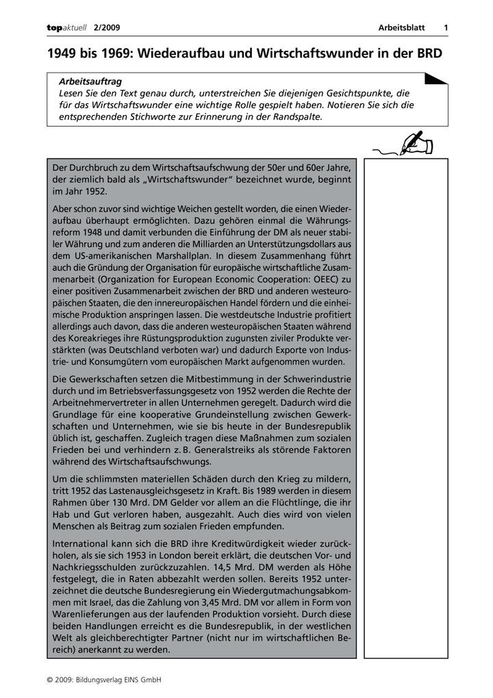 1949 bis 1969: Wiederaufbau und Wirtschaftswunder in der BRD ...