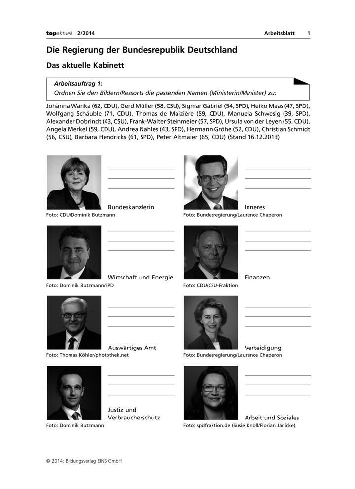 Das aktuelle Bundeskabinett - Die Regierung der Bundesrepublik ...