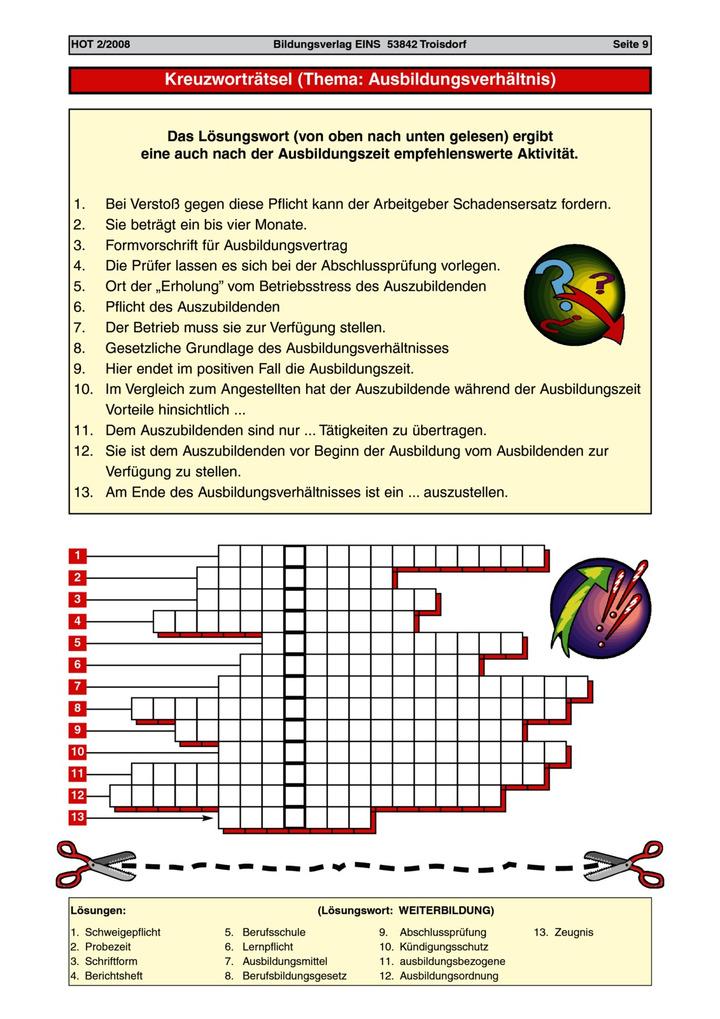 Ausbildungsverhältnis - Kreuzworträtsel: Verlage der Westermann Gruppe