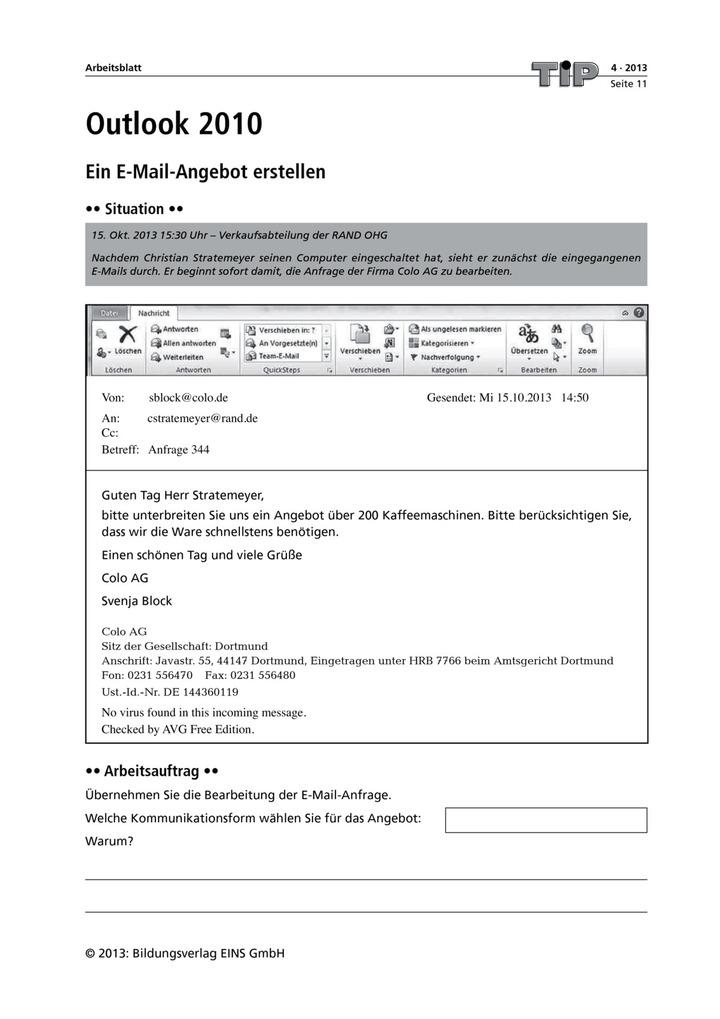 Ein E Mail Angebot Erstellen Outlook 2010 Bildungsverlag Eins