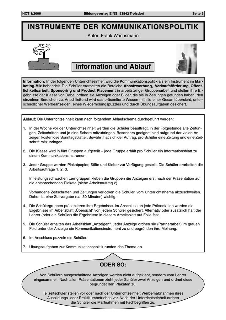 Instrumente der Kommunikationspolitik - Unterrichtsentwurf: Verlage ...