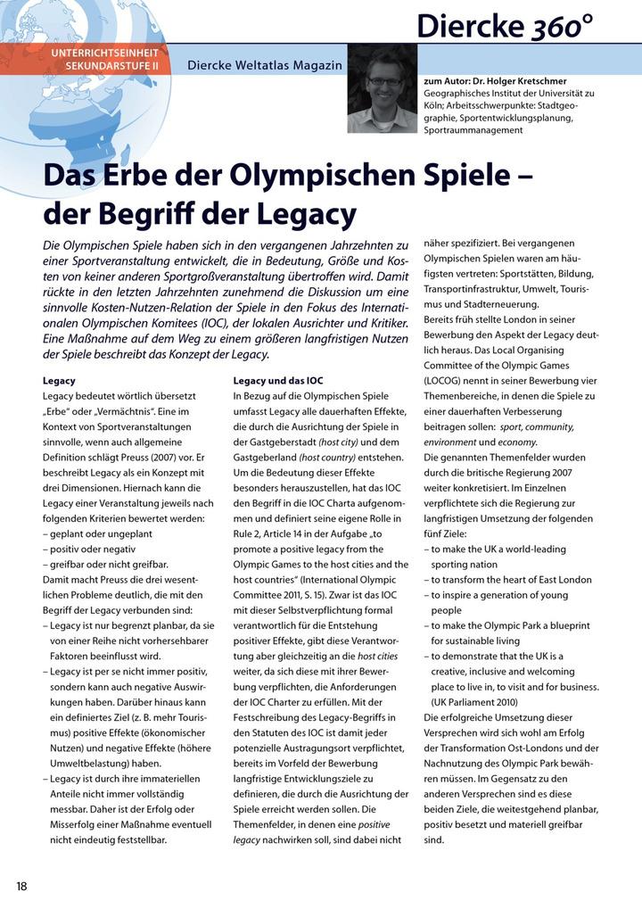 Arbeitsblatt Sek II: Das Erbe der Olympischen Spiele - der Begriff ...