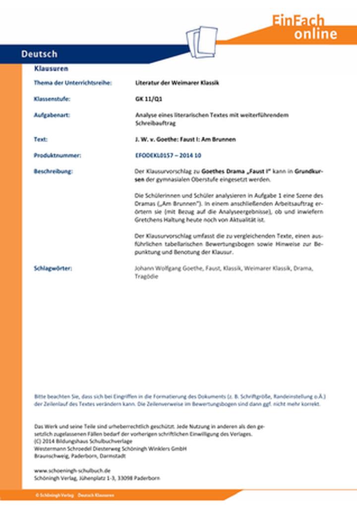 Goethe, Johann Wolfgang von: Faust I: Am Brunnen - Literatur der ...