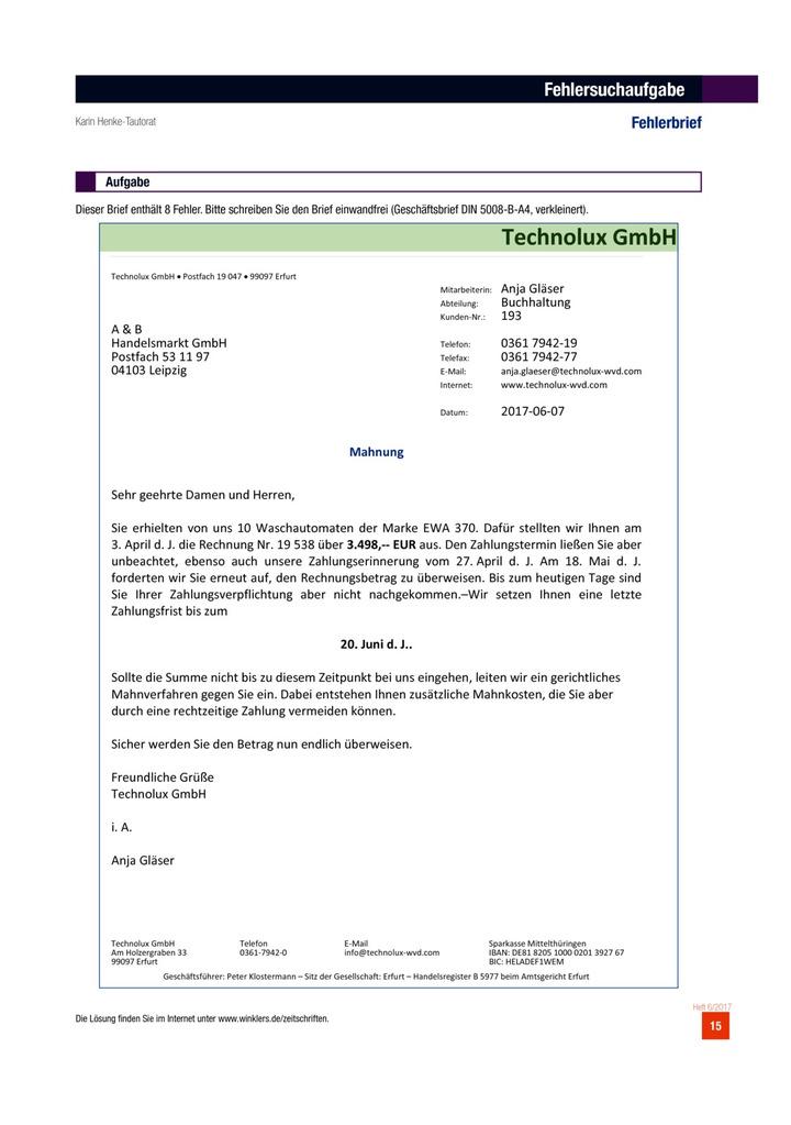 Fehlerbrief Aufgabenblatt Winklers Verlag