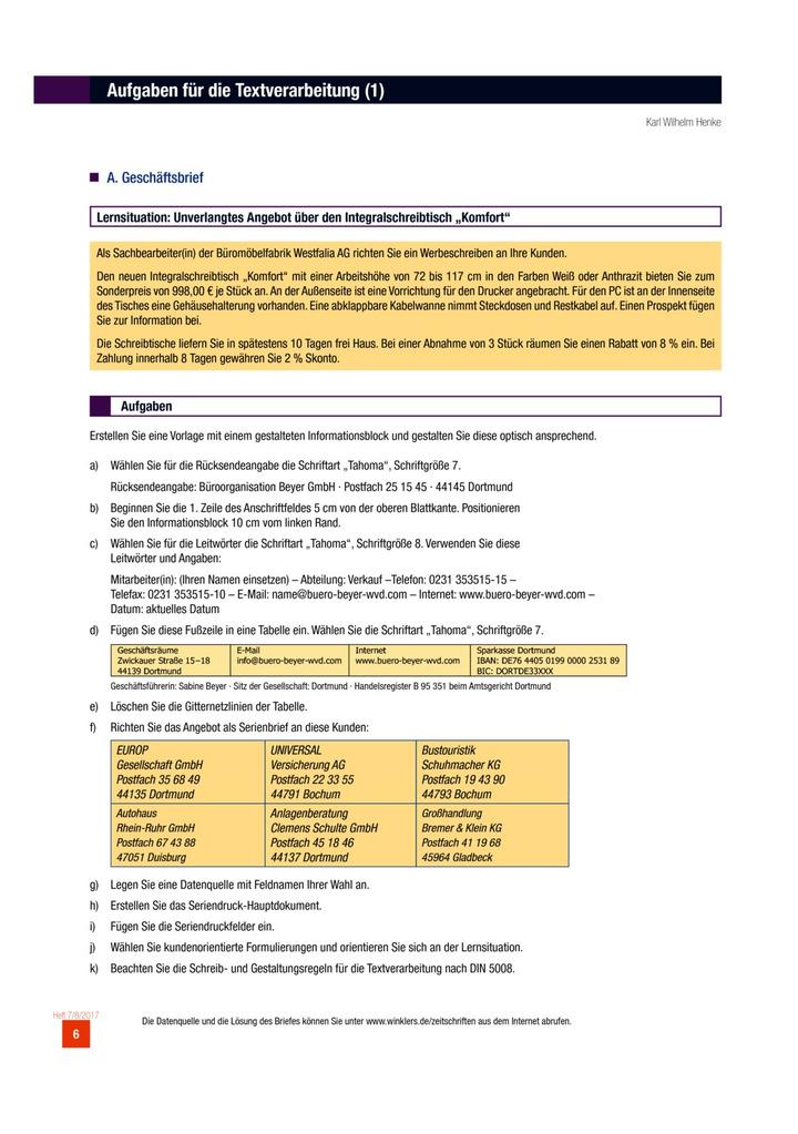 Aufgaben Für Die Textverarbeitung Aufgabenblatt Verlage Der