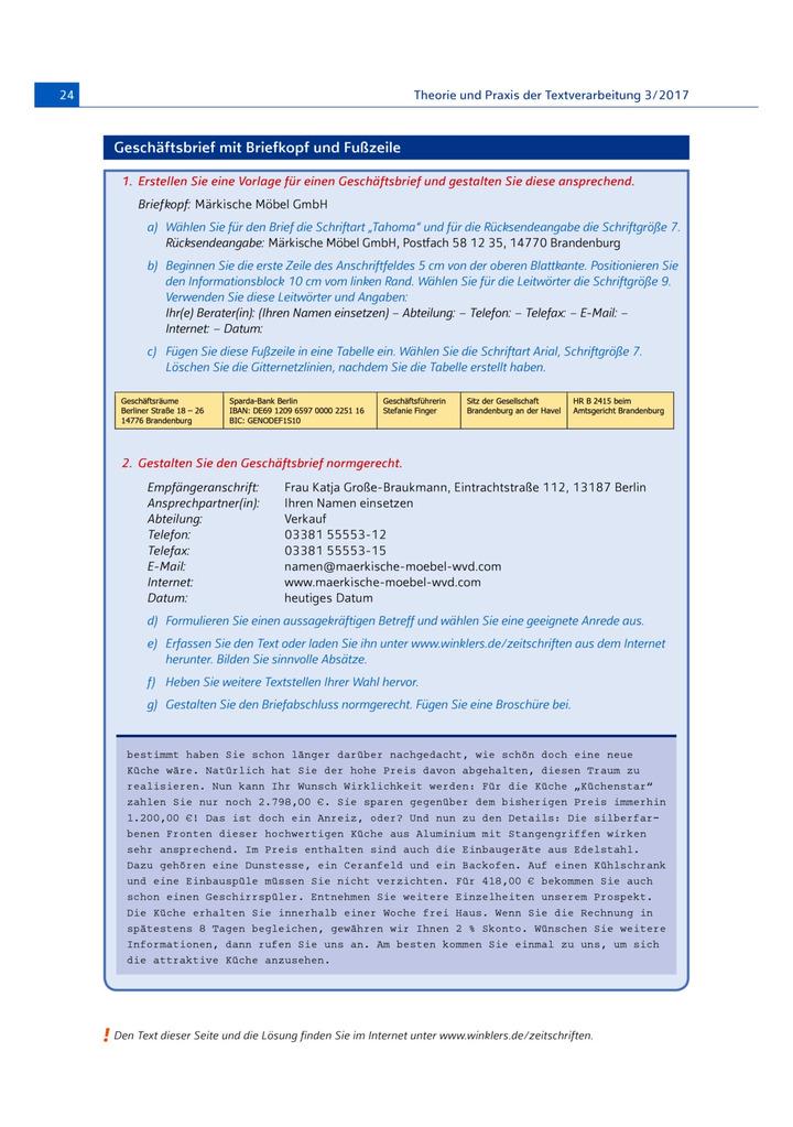 Geschäftsbrief Mit Briefkopf Und Fußzeile Aurfgabenblatt