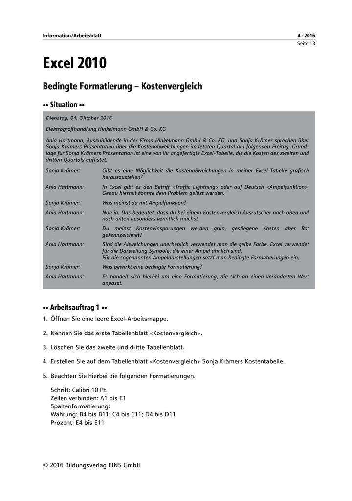 Bedingte Formatierung - Kostenvergleich: Bildungsverlag EINS
