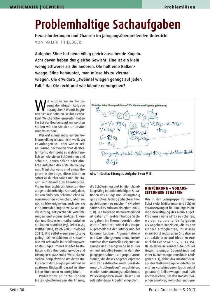 Problemhaltige Sachaufgaben - Herausforderungen und Chancen im ...