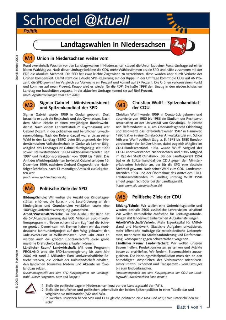 Landtagswahlen in Niedersachsen - - ein Arbeitsblatt zu den ...