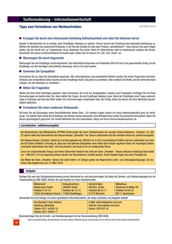 Tipps Zum Formulieren Von Werbeschreiben Aufgabenblatt
