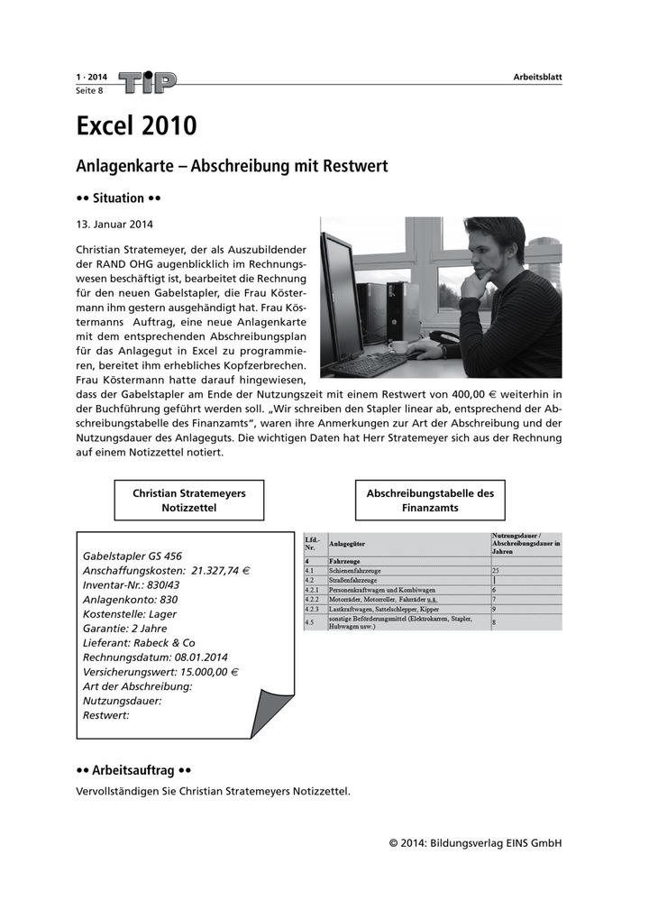 Anlagenkarte - Abschreibung mit Restwert - Excel 2010 ...