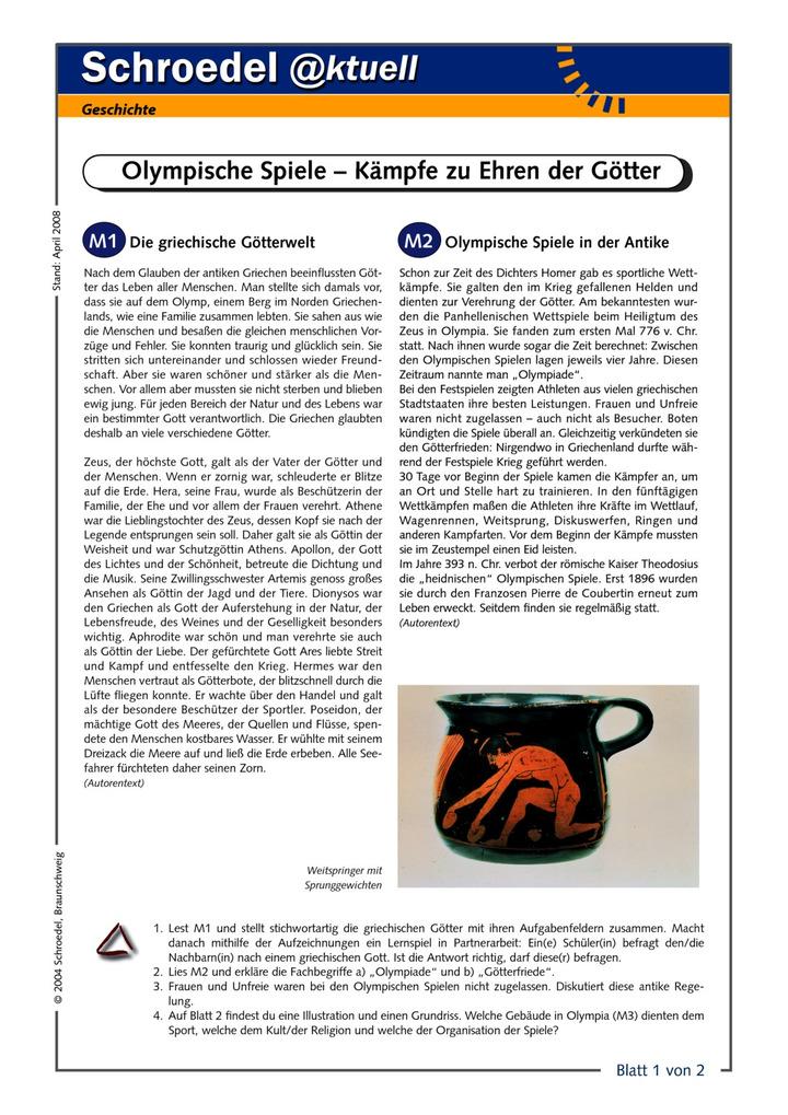 Olympische Spiele – Kämpfe zu Ehren der Götter - - ein Arbeitsblatt ...
